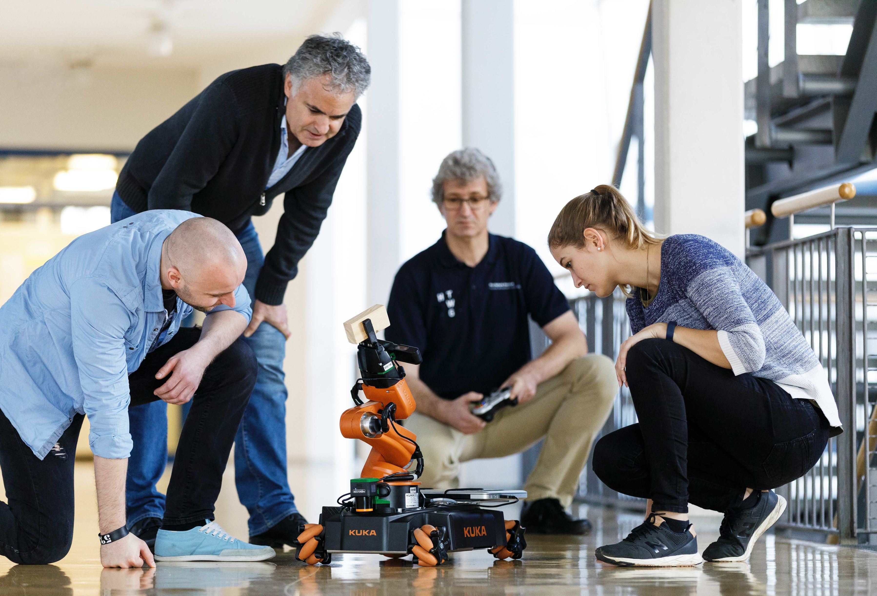 Professor and Student with the KUKA robot.